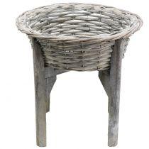 Miska z drewnianą podstawką szara, biała myta Ø40cm