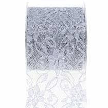 Wstążka koronkowa dekoracyjna szara 70mm 15m