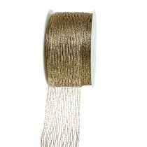 Taśma siatkowa złota zbrojona drutem 40mm 15m