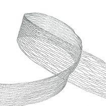 Taśma siatkowa srebrna zbrojona drutem 40mm 15m