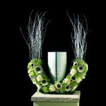 Wtykana urna piankowa półpierścieniowa H29cm Ø47cm 1szt dekoracja żałobna