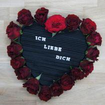 Kwiatowe serce z pianki czarne 38cm 2szt