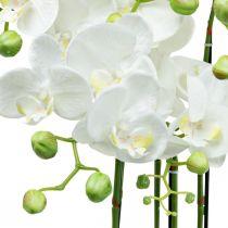 Sztuczne Orchidee w Doniczce Biała Sztuczna Roślina 63cm