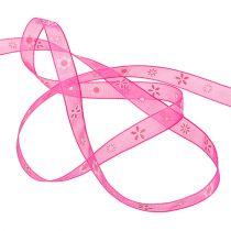 Organza wstążka różowa z wzorem 10mm 20m