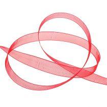 Wstążka organzowa z krajką 1,5cm 50m czerwona