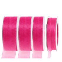 Organza wstążka z krajką 50m różowa