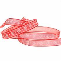 Organza wstążka z płatkiem śniegu czerwona 10mm 20m