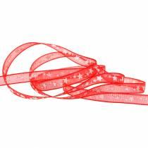Wstążka organza z gwiazdką czerwona 6mm 20m