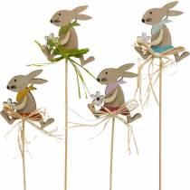 Zajączek wielkanocny z kwiatkiem, dekoracja zajączka na Wielkanoc, zajączek na patyku, wiosna, drewniana dekoracja kwiatek na patyku 12szt.