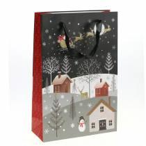 Torba papierowa prezentowa wioska bożonarodzeniowa H30cm 2szt.