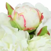 Piwonia pęczek biały / różowy 27cm 6szt
