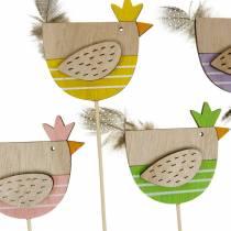 Roślina Wtyczka Kurczak Kolorowa Dekoracja Wtyczka Drewniana Kura Wielkanocna Dekoracja 14szt