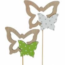 Korek roślinny motyl na patyku drewniany dekoracja wiosenna 16szt