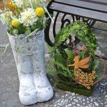 Planter Boot Bee Metal White Vintage Garden Decoration H31cm