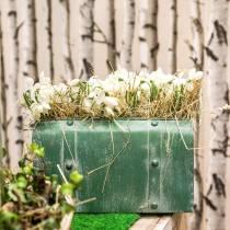 Torba do sadzarki z uchwytem metalowa zielona, myta na biało W20cm