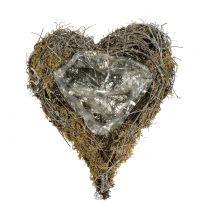 Serce roślinne z winorośli i mchu natura 20cm x 14cm