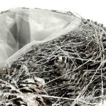 Serce roślinne z szyszek 17cm x 21cm białe 2szt