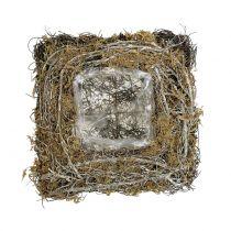 Poduszka roślinna wykonana z winorośli i mchu 20 cm x 20 cm