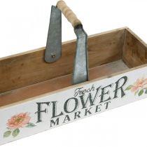 Skrzynka na kwiaty, dekoracja na kwiaty, drewniana skrzynka na rośliny, skrzynka na kwiaty nostalgia wygląd 41,5×16cm