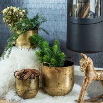 Planter Antique Look Flowerpot z uchwytami Metal H17/19,5/26cm Zestaw 3