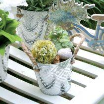 Donica z uchwytami, dekoracyjna misa z kwiatowym wzorem, donica metalowa Ø14,5cm