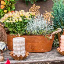 Doniczka z uchwytami, miska na zioła, jesienna dekoracja, stal nierdzewna L28cm H11cm