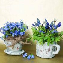 Doniczka do roślin z podstawką Vintage Grey, Glinka naturalna Ø8cm H6,5cm 4szt.
