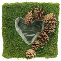 Poduszka roślinna serce mech i szyszki kwadrat 25×25cm