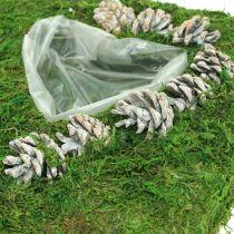 Poduszka roślinna serce mech i szyszki białe prane 25×25cm