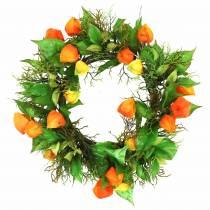 Physalis Wianek Sztuczny Pomarańczowy, Zielony Ø28cm Dekoracja Jesienna