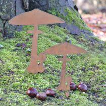 Grzybki ogrodowe dekoracja ogrodu metal rdzawy 70cm