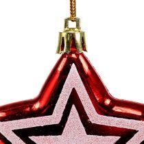 Gwiazdka do zawieszania czerwonego, białego plastiku 8,5 cm 2szt