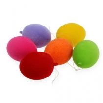 Jajka ozdobne flokowane kolorowe 6cm 18szt