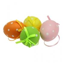 Sortuj plastikowe jajka z kropkami 9,5 cm 8szt