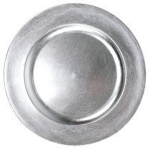 Talerz plastikowy 25cm srebrny z efektem srebrnych liści
