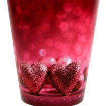 Garnek plastikowy z sercem różowy Ø12cm W13,5cm 1szt