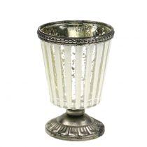 Szklany puchar na tealight farma srebrny H11cm
