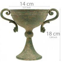 Puchar z uchwytami, puchar metalowy, amfora do sadzenia roślin Ø14cm H18cm