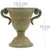 Metalowa amfora, kielich roślinny, puchar z uchwytami Ø12,5cm H15cm