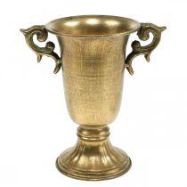 Dekoracyjny puchar z uchwytami Złoty Ø11cm H17,8cm Antique Look