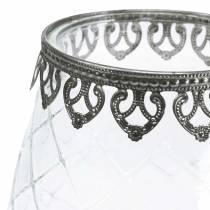 Szklany puchar dekoracyjny z metalową podstawą Ø16cm H23,5cm