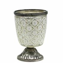 Szklany puchar na tealight farma srebrny kwiatowy Ø9cm H13,5cm