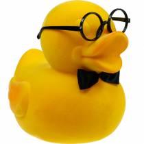 Figurka dekoracyjna kaczka w okularach żółta, zabawna letnia dekoracja, dekoracyjna kaczka flokowana