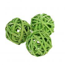 Piłka rattanowa sprężynowa zielona Ø4cm 12szt.