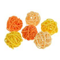 Piłka rattanowa pomarańczowa żółta morelowa 72szt
