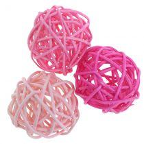 Kule rattanowe różowe różne Ø4cm 24szt.