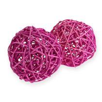 Piłka rattanowa 10cm fioletowa 10szt.