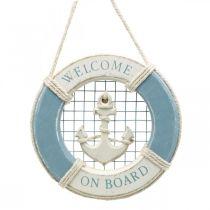 Dekoracje żeglarskie, pierścień ratunkowy z kotwicą, dekoracyjny pierścień pływający Ø14cm