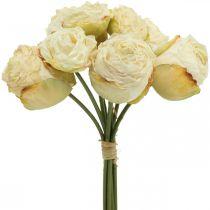 Sztuczne Róże, Kwiaty Jedwabne, Wiązanka Róż Kremowa Biała L23cm 8szt.