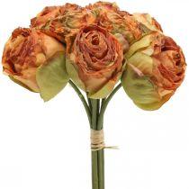 Wiązka róż, jedwabne kwiaty, sztuczne róże pomarańczowe, Antique Look L23cm 8szt.